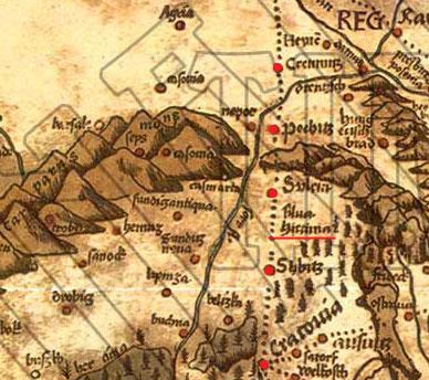 Kleban.sk - Obr. Detail mapy Martina Waldseemüllera - Hercýnsky les